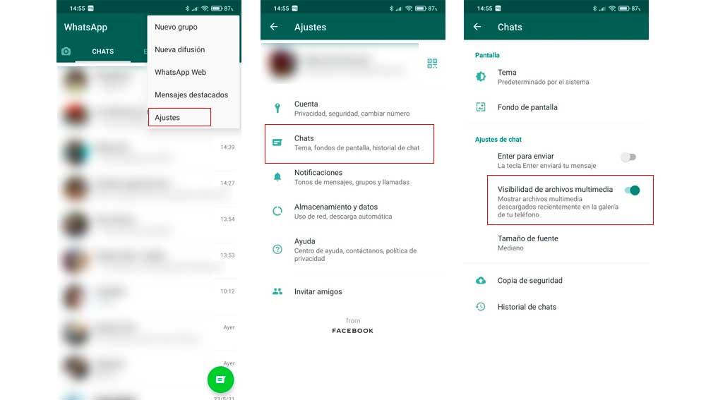 Accedes a los ajustes de WhatsApp