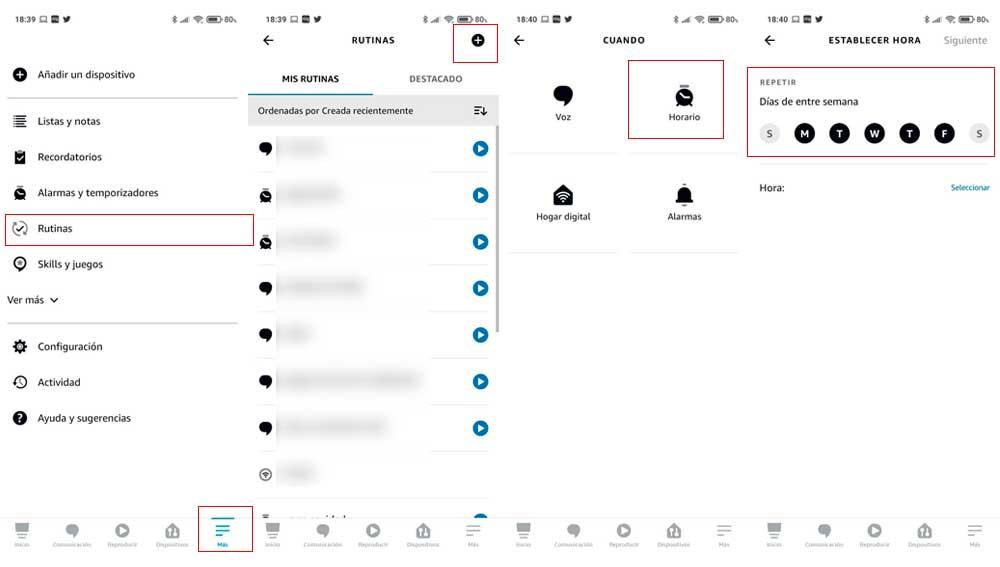 Creando rutinas con la App de Alexa