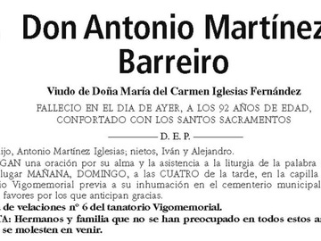 Esquela de Antonio Martínez Barreiro
