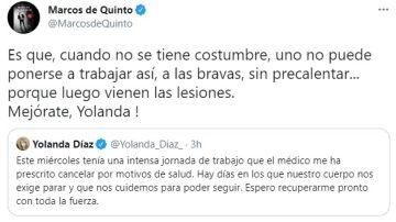 """Tuit de Marcos de Quinto sobre Yolanda Díaz y su ausencia por """"motivos de salud"""""""