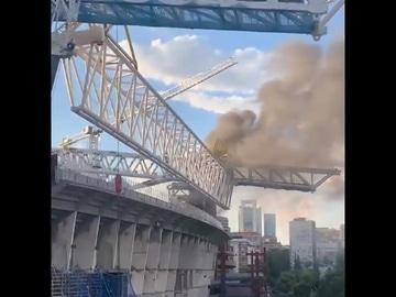 Declarado un incendio en las obras del Santiago Bernabéu