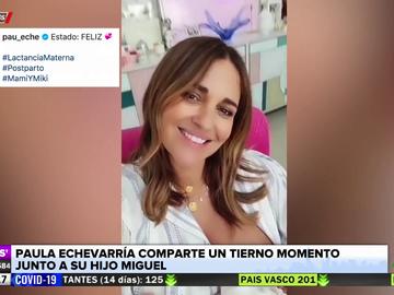 El tierno momento de Paula Echevarría junto a su hijo Miguel un mes después de su nacimiento