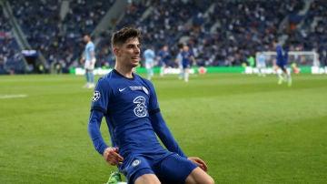 Havertz celebra un gol con el Chelsea
