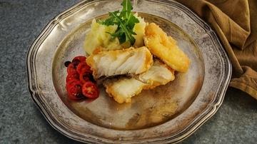 Imagen de archivo de pescado frito