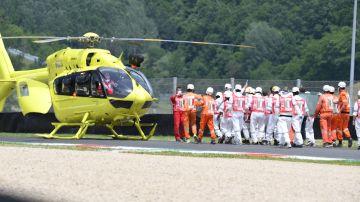 El helicóptero llega para trasladar a Jason Dupasquier