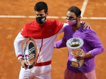 Novak Djokovic junto a Rafa Nadal, campeón del Masters 1000 de Roma