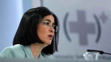La ministra de Sanidad, Carolina Darias, durante la rueda de prensa tras el Consejo Interterritorial.