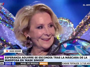 Mask Singer descubre a Esperanza Aguirre bajo la máscara de la Mariposa