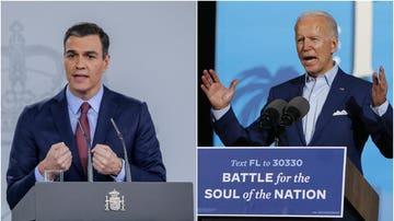 A la izquierda, Pedro Sánchez, presidente del Gobierno; a la derecha, Joe Biden, presidente de EEUU