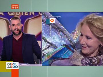 """Así reacciona Dani Mateo al ver a Esperanza Aguirre disfrazada de mariposa en Mask Singer: """"¿Estamos locos?"""""""