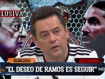 """Sergio Ramos a Tomás Roncero: """"Quiero quedarme en el Madrid pero no depende de mi"""""""