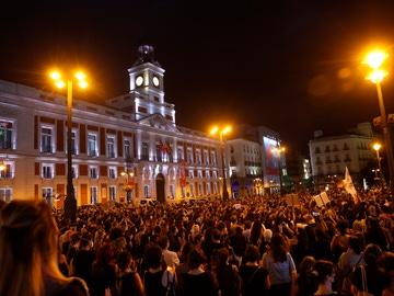 Concentración en la madrileña Puerta del Sol para condenar los últimos casos de violencia machista.
