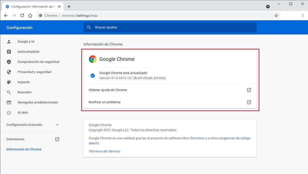Actualizando la versión Chrome