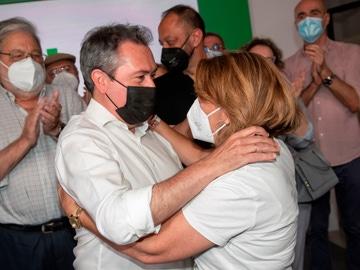 Juan Espadas y Susana Díaz, tras conocerse los resultados de las primarias en el PSOE