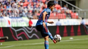 Kubo controlando un balón en el encuentro amistoso entre Japón Sub-23 y Jamaica