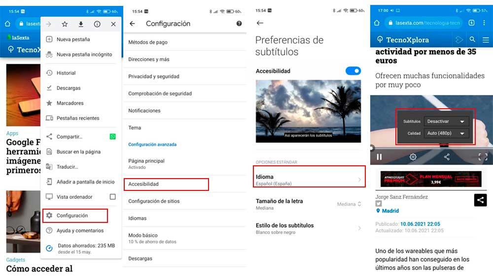 Activando los subtítulos en Chrome para Android
