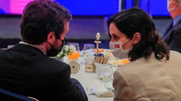Pablo Casado e Isabel Díaz Ayuso en un desayuno informativo este martes, 15 de junio