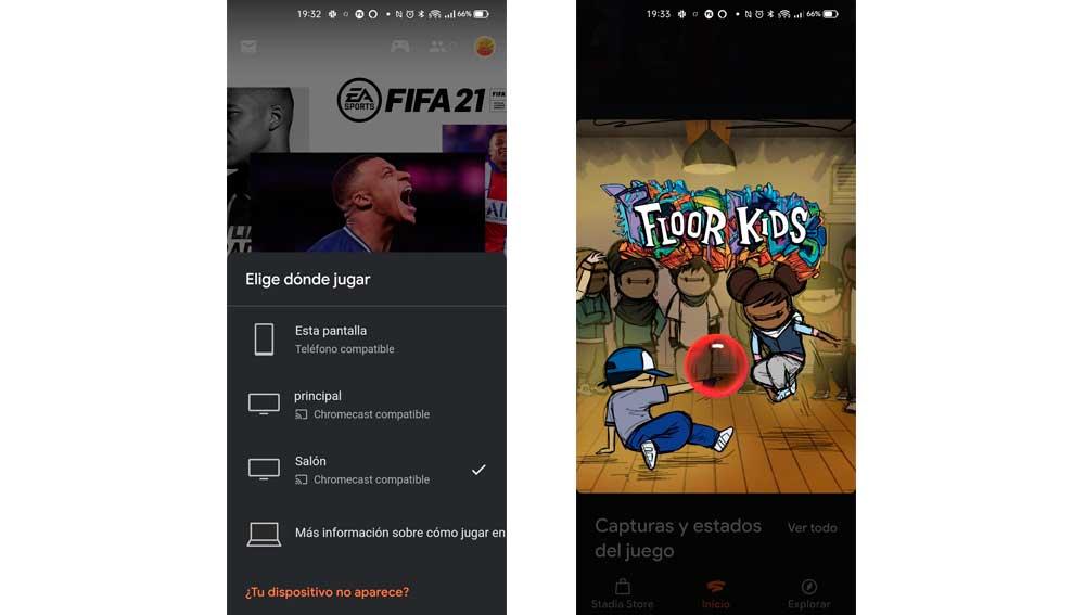 Lanzando Google Stadia desde tu teléfono Android