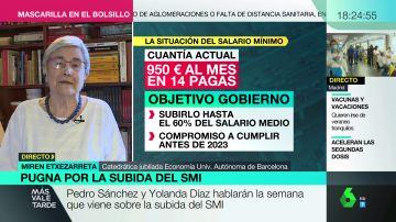 Miren Etxezarreta explica por qué subir el salario mínimo ayudaría a la recuperación económica tras el COVID
