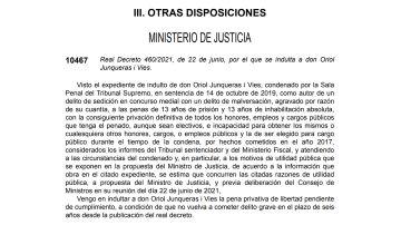 Real Decreto del indulto a Oriol Junqueras