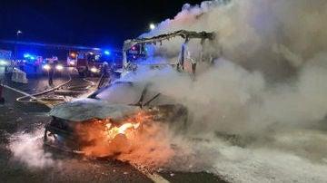 Brutal accidente de tráfico en la AP-1 en Zigoitia