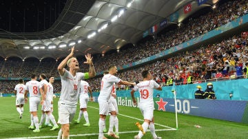 Suiza celebra un gol en la Eurocopa