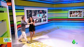 La emoción de Lorena Castell al recibir a Gotzon Mantuliz en plató como presentadora de Zapeando