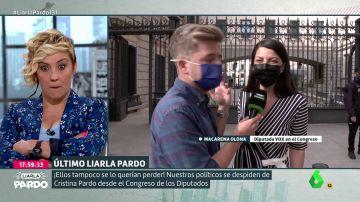 La cara de Cristina pardo ante el mensaje de Macarena Olona (Vox) por su mensaje de despedida en Liarla Pardo