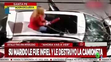 El impactante momento en el que una mujer destroza el coche de su marido tras enterarse de que le ha sido infiel