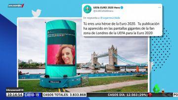 """Sonia Monroy se cuela en una fan zone de la UEFA en Londres tras el España-Suiza: """"Eres nuestra heroína"""""""