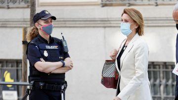 La ex secretaria general del PP María Dolores de Cospedal a su llegada a la Audiencia Nacional,