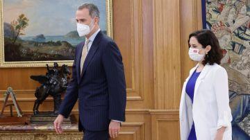 El rey Felipe VI recibe en audiencia este miércoles a la presidenta madrileña, Isabel Díaz Ayuso.