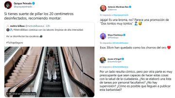 """El método del metro de Bilbao para desinfectar escaleras mecánicas que ha enfurecido a Twitter"""" ¿Es una broma, no?"""""""