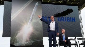 Jeff Bezos en una presentación de la compañía Blue Origin