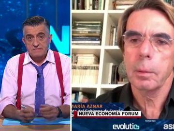 """El pelo rubio de Aznar impresiona a Wyoming: """"Ha confundido el champú con gel hidroalcohólico"""""""