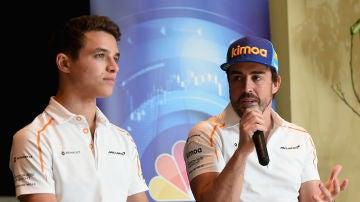 Lando Norris y Fernando Alonso