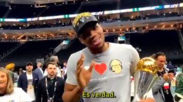 El mensaje de Antetokounmpo a Murcia en plena celebración del anillo de la NBA