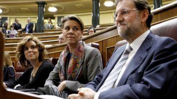 Sáenz de Santamaría, Cospedal y Rajoy