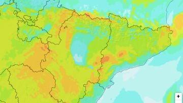 Previsión de viento en la zona del Ebro