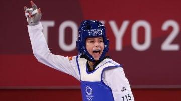 Adriana Cerezo celebra una de sus victorias en los Juegos Olímpicos de Tokio