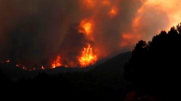 Imagen del incendio originado en Santa Coloma de Queralt (Conca de Barberà)