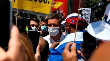 El presidente del PP, Pablo Casado, participa en la marcha en defensa de los derechos humanos en Cuba