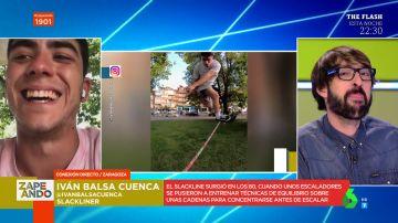 Iván Balsa arrasa en 'El Desafío' con su demostración de 'Slackline', el deporte que se basa en una cinta de cinco centímetros