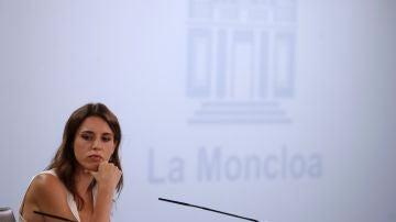La ministra de Igualdad, Irene Montero, en la rueda de prensa tras el Consejo de Ministros.