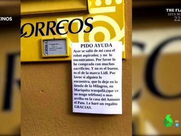 """El cartel de un vecino que pidiendo ayuda tras 'escaparse' su cuyo robot aspirador: """"Se salió de casa y no lo encontramos"""""""