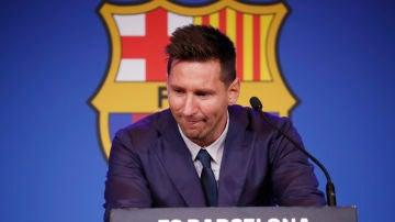 Leo Messi, emocionado en su adiós al Barça