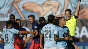 Tangana entre los jugadores de Celta y Atlético
