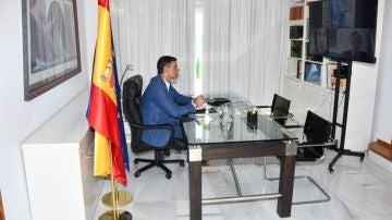 Pedro Sánchez, en una reunión por videoconferencia