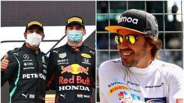 Lewis Hamilton, Max Verstappen y Fernando Alonso