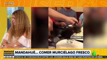 """La divertida reacción de Angie Cárdenas al ver a un grupo de personas comiendo """"murciélago fresco"""""""